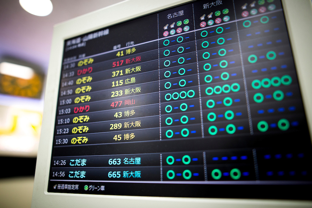 TOKYO, JAPAN - JULY 13 : Schedule of bullet train is seen at the ticket counter of Tokyo Station on Wednesday, July 13, 2016, Tokyo, Japan.<br />   <br /> Photo: Richard Atrero de Guzman