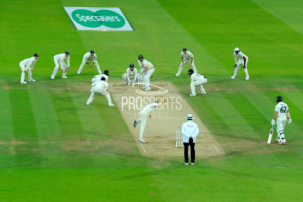 Jack Leach of England bowling to Pat Cummins of Australia who is surrounded by nine England fielders in the last over during the International Test Match 2019 match between England and Australia at Lord's Cricket Ground, St John's Wood, United Kingdom on 18 August 2019.