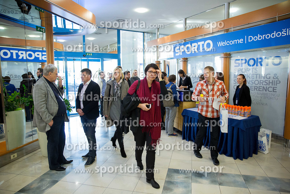 Welcome desk at sports marketing and sponsorship conference Sporto 2014, on November 20, 2014 in Hotel Slovenija, Congress centre, Portoroz / Portorose, Slovenia. Photo by Vid Ponikvar / Sportida