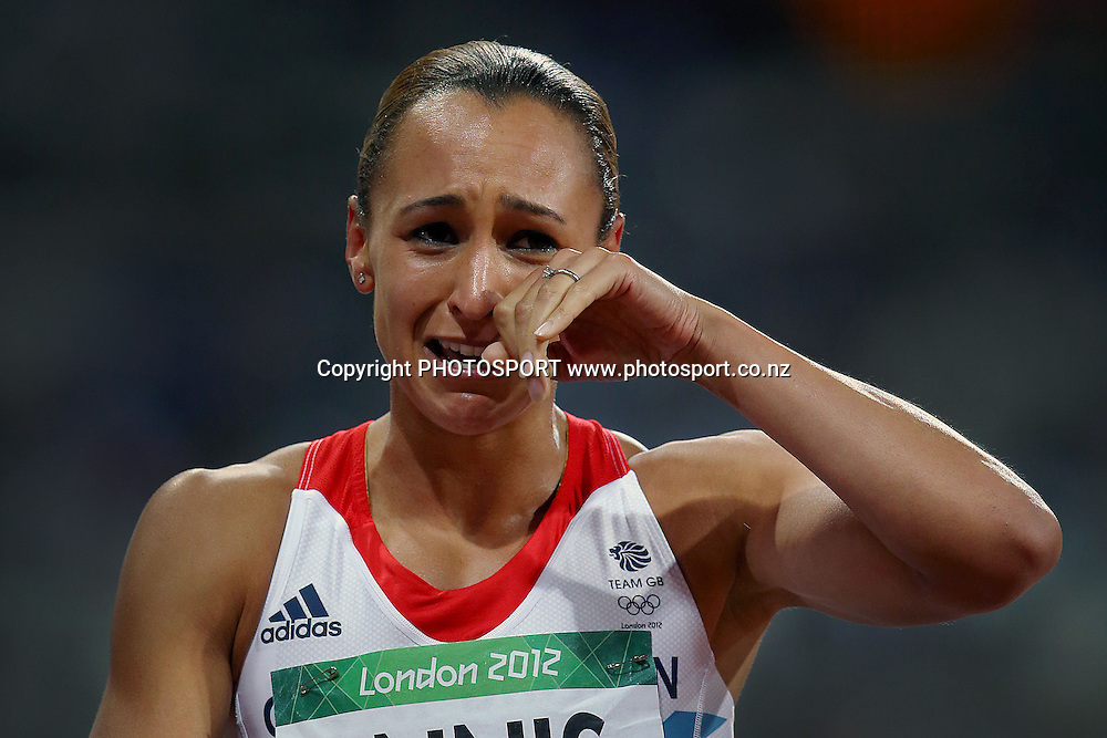 Great Britain's Jessica Ennis wins Gold in tears. Athletics, Women's Heptathlon at Olympic Stadium, London, United Kingdom. Saturday 4th August 2012. Photo: Anthony Au-Yeung / photosport.co.nz
