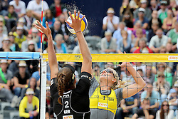 13.07.2014, Beach Village, Gstaad, SUI, FIVB Beach Volleyball Grand Slam Gstaad, im Bild Karla Borger (GER) gegen Ilka Semmler (GER) // during the FIVB Beach Volleyball Grand Slam Gstaad at the Beach Village in Gstaad, Switzerland on 2014/07/13. EXPA Pictures © 2014, PhotoCredit: EXPA/ Freshfocus/ Claude Diderich<br /> <br /> *****ATTENTION - for AUT, SLO, CRO, SRB, BIH, MAZ only*****