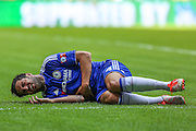 Cesc Fabregas goes down injured in the Arsenal penalty area during the FA Community Shield match between Chelsea and Arsenal at Wembley Stadium, London, England on 2 August 2015. Photo by Shane Healey.