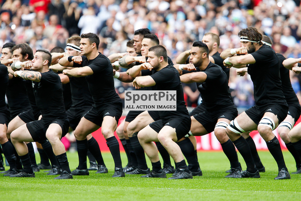 WEMBLEY, ENGLAND - SEPTEMBER 20:  New Zealand do the Haka the 2015 Rugby World Cup Pool C match between New Zealand and Argentina at Wembley Stadium on September 20, 2015 in London, England. (Credit: SAM TODD | SportPix.org.uk)