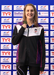 The medal ceremony for the Women's 200m Butterfly, gold medalist Charlotte Atkinson during day three of the 2017 British Swimming Championships at Ponds Forge, Sheffield. PRESS ASSOCIATION Photo. Picture date: Thursday April 20, 2017. See PA story SWIMMING Sheffield. Photo credit should read: Tim Goode/PA Wire