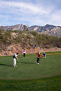 Foursome putting on green, Canyon hole #4, Santa Catalina Mountains behind. ©1993Edward McCain. All rights reserved. McCain Photography, McCain Creative.