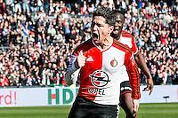 ROTTERDAM  - Feyenoord - PSV , eredivisie , voetbal , Feyenoord stadion de Kuip , seizoen 2014/2015 , 22-03-2015 , Feyenoord speler Anass Achahbar scoort de 1-0 en rent juichend weg samen met Elvis Manu (r)
