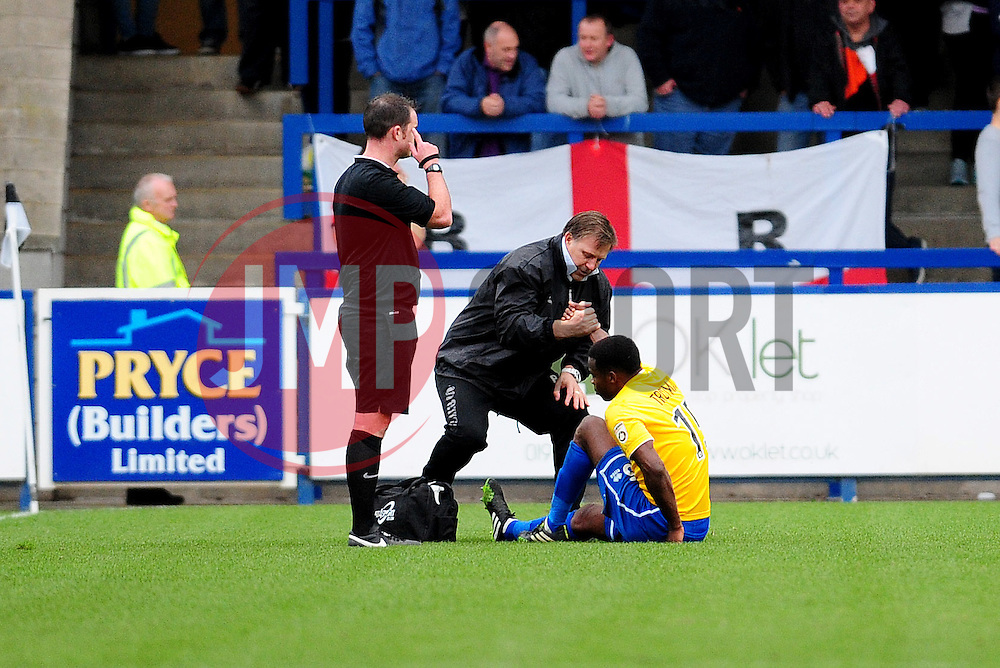 Bristol Rovers' Neal Trotman is injured - Photo mandatory by-line: Neil Brookman/JMP - Mobile: 07966 386802 - 01/11/2014 - SPORT - Football - Telford - New Bucks Head Stadium - AFC Telford v Bristol Rovers - Vanarama Football Conference