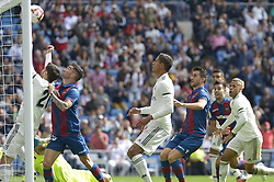 October 20, 2018 - Madrid, Madrid, Spain - Asensio of Real Madrid fight the ball with Jason of Levante during a match for the Spanish League between Real Madrid and Levante at Santiago Bernabeu Stadium on October 20, 2018 in Madrid, Spain. (Credit Image: © Patricio Realpe/NurPhoto via ZUMA Press)