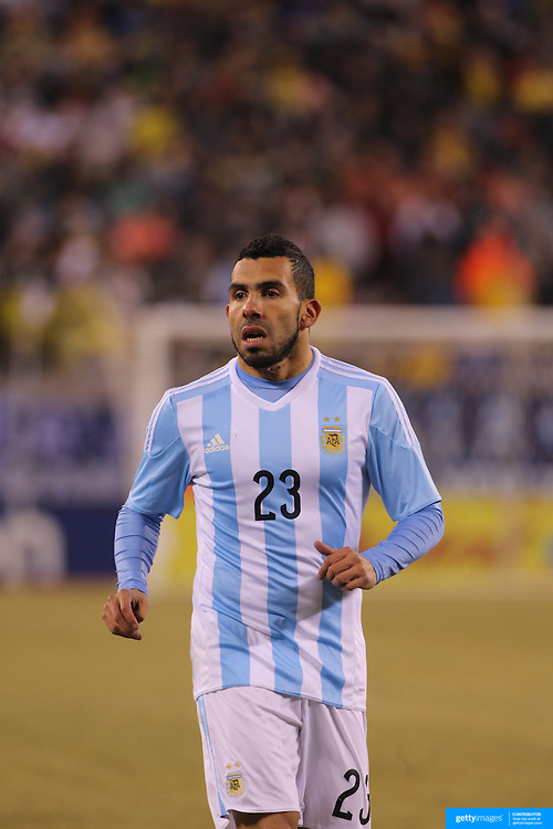 Carlos Tevez, Argentina, in action during the Argentina Vs Ecuador International friendly football match at MetLife Stadium, New Jersey. USA. 31st march 2015. Photo Tim Clayton