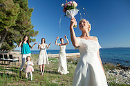 Wedding, Bride, Women, Bouquet, Throwing, Fun, Enjoyment, Tradition,