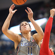 HARTFORD, CONNECTICUT- NOVEMBER 19:  Kia Nurse #11 of the Connecticut Huskies rebounds while challenged by Blair Watson #22 of the Maryland Terrapins during the the UConn Huskies Vs Maryland Terrapins, NCAA Women's Basketball game at the XL Center, Hartford, Connecticut. November 19th, 2017 (Photo by Tim Clayton/Corbis via Getty Images)