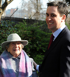 ©London News pictures. 08/03/11. 105-year-old former suffragette Hetty Bower (L) meets Labour Leader Ed Miliband (R) at the statue of Emmeline Pankhurst to mark International Women's Day. She was  joined by Labour Leader Ed Miliband, Labour Deputy Leader Harriet Harman, and shadow home secretary Yvette Cooper. Emmeline  at the Pankhurst statue at Victoria Tower Gardens, Parliament Square, Westminster, London, Picture Credit should read Stephen Simpson/LNP