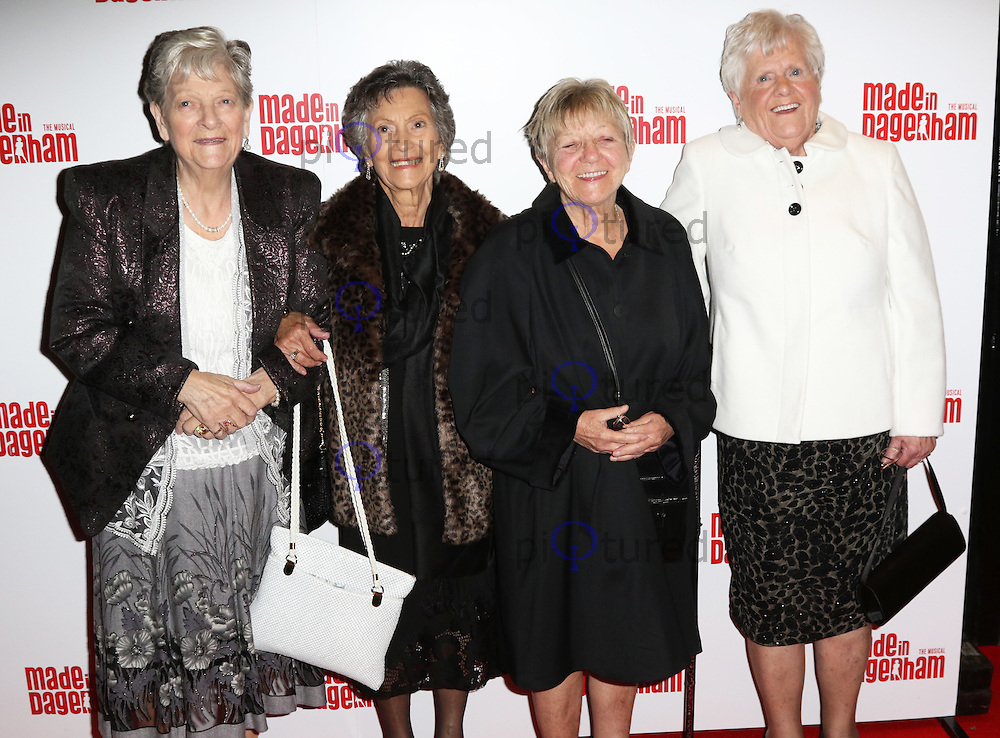 Gwen Davis, Eileen Pullen, Vera Sime, Sheila Douglass, Ford Dagenham sewing machinists strikers of 1968, Made In Dagenham - press night, Adelphi Theatre, London UK, 05 November 2014, Photo by Richard Goldschmidt
