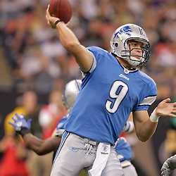 2009 September 13: Detroit Lions rookie quarterback Matthew Stafford (9) throws during a 45-27 win by the New Orleans Saints over the Detroit Lions at the Louisiana Superdome in New Orleans, Louisiana.