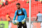 Forest Green Rovers goalkeeper Sam Russell(23) warms up during the Vanarama National League Play Off Final match between Tranmere Rovers and Forest Green Rovers at Wembley Stadium, London, England on 14 May 2017. Photo by Adam Rivers.