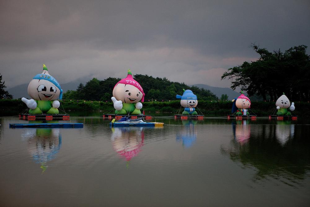 Daegu/South Korea, Republic Korea, KOR, 23.05.2010: Mascots for The Garlic Festival in the city of Dajeong-ri.
