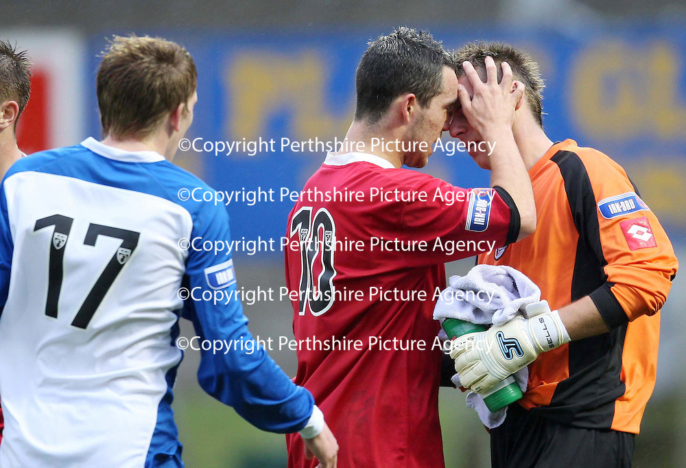 St Johnstone v Clyde....27.10.07<br /> Dougie Imrie consoles team mate David Hutton after his howler let Kenny Deuchar equalise<br /> Picture by Graeme Hart.<br /> Copyright Perthshire Picture Agency<br /> Tel: 01738 623350  Mobile: 07990 594431