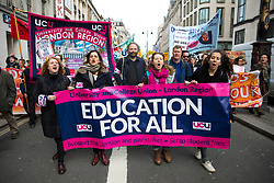 © Licensed to London News Pictures. 14/03/2018. London, UK. University and College Union (UCU) stage a pensions and education demonstration in central London today, campaigning to scrap tuition fees, and supporting the pension strikes.  Photo credit : Tom Nicholson/LNP