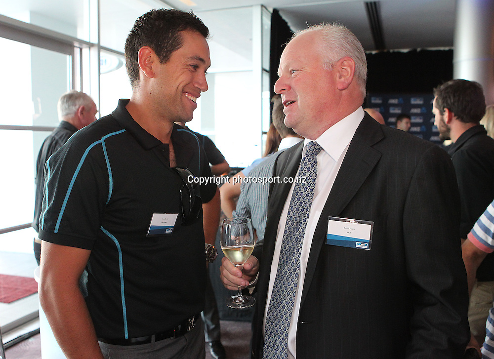 ANZ CEO David Hisco with Ross Taylor at the ANZ International Cricket Series Launch at Bellini, Hilton Hotel Auckland, 7 February 2013