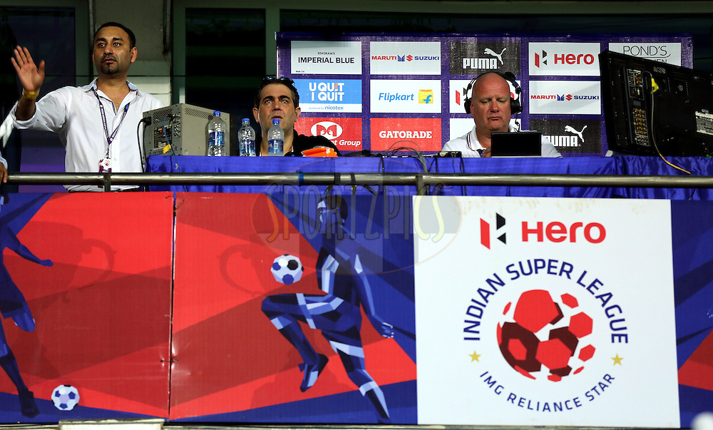 Commentators room  during match 25 of the Indian Super League (ISL) season 2  between FC Goa and FC Pune City held at the Jawaharlal Nehru Stadium, Fatorda, Goa, India on the 30th October 2015.<br /> <br /> Photo by Sandeep Shetty / ISL/ SPORTZPICS