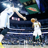 20 November 2016: Denver Nuggets center Jusuf Nurkic (23) passes the ball to Denver Nuggets guard Emmanuel Mudiay (0) during the Denver Nuggets 105-91 victory over the Utah Jazz, at the Pepsi Center, Denver, Colorado, USA.