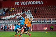 NOVI SAD - 17-08-2016, Vojvodina - AZ, Karadjordje Stadion, training, persconferentie, AZ speler Wout Weghorst, AZ speler Mattias Johansson