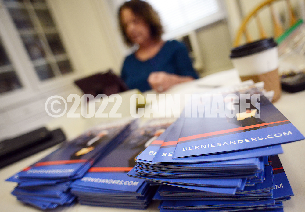 Ann Zavoda, of Ottsville, Pennsylvaniatrains to work the phone banks in the the new Bernie Sanders democratic campaign headquarters Saturday April 2, 2016 in Doylestown, Pennsylvania.  (Photo by William Thomas Cain)