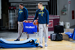 Marko Macura, Klemen Prepelic during practice session of Slovenian National Basketball team before qualification matches for FIBA Basketball World Cup 2019, on February 20, 2017 in Arena Stozice, Ljubljana, Slovenia. Photo by Urban Urbanc / Sportida