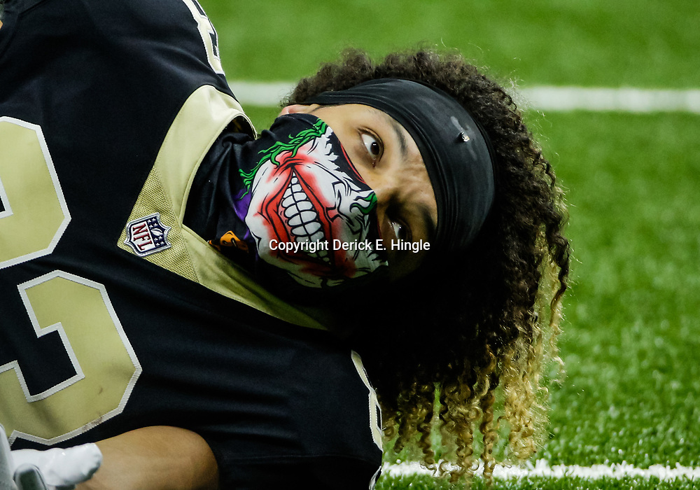 Oct 29, 2017; New Orleans, LA, USA; New Orleans Saints wide receiver Willie Snead (83) wears a mask over his face during warm ups before a game against the Chicago Bears at the Mercedes-Benz Superdome. Mandatory Credit: Derick E. Hingle-USA TODAY Sports
