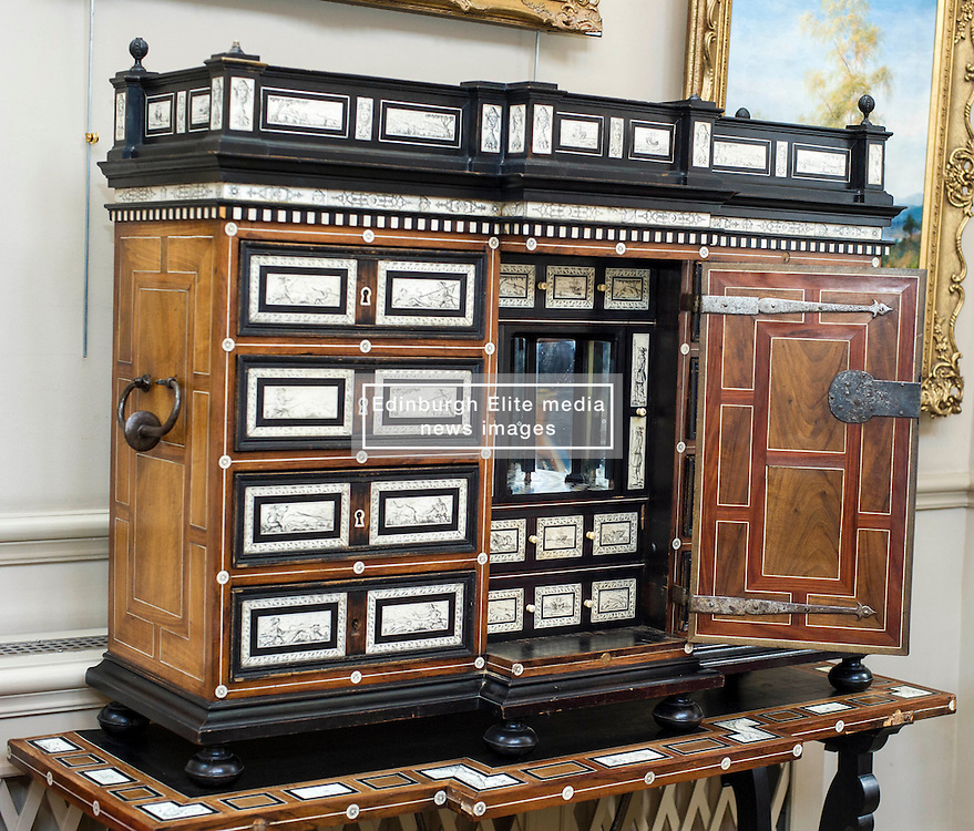Pictured: north Italian 17th Century later ivory and bone inlaid rosewood cabineton stand.<br /> <br /> Bonhams Scotland's next home and interiors sale is aimed at home makers and interior designers with an emphasis on affordability. Items include a north Italian 17th century later ivory bone inlaid rosewood cabinet on stand valued at GBP5000-6000<br /> <br /> Ger Harley | EEm 31 October 2016