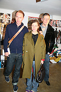 Stuart Vevers, Katie Grand and Giles Deacon. i-Dentity opening. Celebrating 25 years of i-D. Fashion and Textile magazine. Ber5mondsey St. London. SE1. 13 October  2005. ONE TIME USE ONLY - DO NOT ARCHIVE © Copyright Photograph by Dafydd Jones 66 Stockwell Park Rd. London SW9 0DA Tel 020 7733 0108 www.dafjones.com