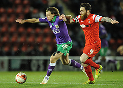 Bristol City's Luke Freeman is closed down by Leyton Orient's Romain Vincelot - Photo mandatory by-line: Dougie Allward/JMP - Mobile: 07966 386802 - 03/03/2015 - SPORT - football - Leyton - Brisbane Road - Leyton Orient v Bristol City - Sky Bet League One