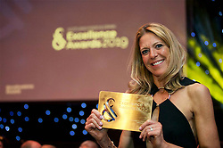 Kate Fairlie, widow of former Gleneagles chef Andrew Fairlie who died in January aged 55, holds the Oustanding Contribution award given to her husband at the Scotland Food and Drink Excellence Awards held at the Corn Exchange, Edinburgh. pic: Terry Murden @edinbughelitemedia