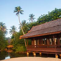 Timber resort buildings, inspired by traditional Malay palaces, Tanjong Jara Resort, Terengganu, Malaysia.
