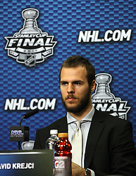 June 10, 2011; Vancouver, BC, CANADA; Boston Bruins center David Krejci speaks at a press conference before game five of the 2011 Stanley Cup Finals against the Vancouver Canucks at Rogers Arena. Mandatory Credit: Jason O. Watson / US PRESSWIRE