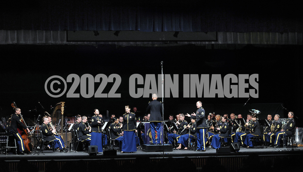 BENSALEM, PA -  MARCH 17:  The U.S. Army Field Band Concert and Soldiers' Chorus performs at Bensalem High School March 17, 2014 in Bensalem, Pennsylvania. (Photo by William Thomas Cain/Cain Images)