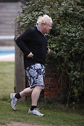 © Licensed to London News Pictures. 02/10/2018. Thame, UK. Boris Johnson goes for a run near his Oxfordshire home. The former foreign secretary is due to speak at a fringe event at the Conservative Party Conference later . Photo credit: Peter Macdiarmid/LNP