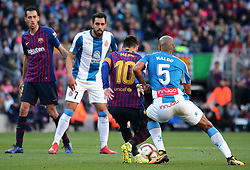 March 30, 2019 - Barcelona, Catalonia, Spain - Leo Messi and Naldo during the match between FC Barcelona and RCD Espanyol, corresponding to the week 29 of the Liga Santander, played at the Camp Nou Stadium, on 30th March 2019, in Barcelona, Spain. (Credit Image: © Joan Valls/NurPhoto via ZUMA Press)