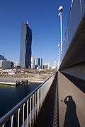Vienna, Austria. After its opening in February 2014, DC Tower designed by French star architect Dominique Perrault in cooperation with Hoffmann-Janz Architekten is Vienna's highest skyscraper with 250 meters, seen from Reichsbrücke.