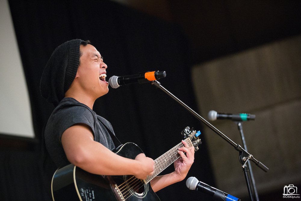 "San Jose State University creative arts student Denny Pham (Class of 2014) performs an original song, ""Only You, Lovely You"" during Humanities & Arts Day Student Showcase at San Jose State University's Student Union Barrett Ballroom in San Jose, California, on October 25, 2013. (Stan Olszewski/SOSKIphoto)"
