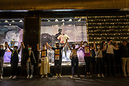 Protestors hold hands to form a human chain in the Central district of Hong Kong, one of several locations across the city in which human chains were formed on this, the 30th anniversary of the Baltic Way.<br />