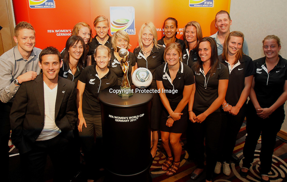 The football ferns pose for a photo with the World Cup. Women's Football Conference, Crowne Plaza Hotel, Auckland, Friday 10th December 2010. Photo: Shane Wenzlick