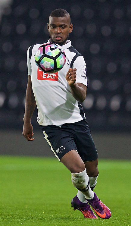DERBY, ENGLAND - Monday, November 28, 2016: Derby County's Abdul Camara in action against Liverpool during the FA Premier League 2 Under-23 match at Pride Park. (Pic by David Rawcliffe/Propaganda)