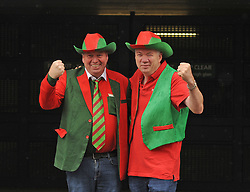 Paddy and Peter Monaghan from Mayo Abbey decked out in style on their way to the All Ireland Semi Final against Kerry at Croke Park.<br /> Pic Conor McKeown