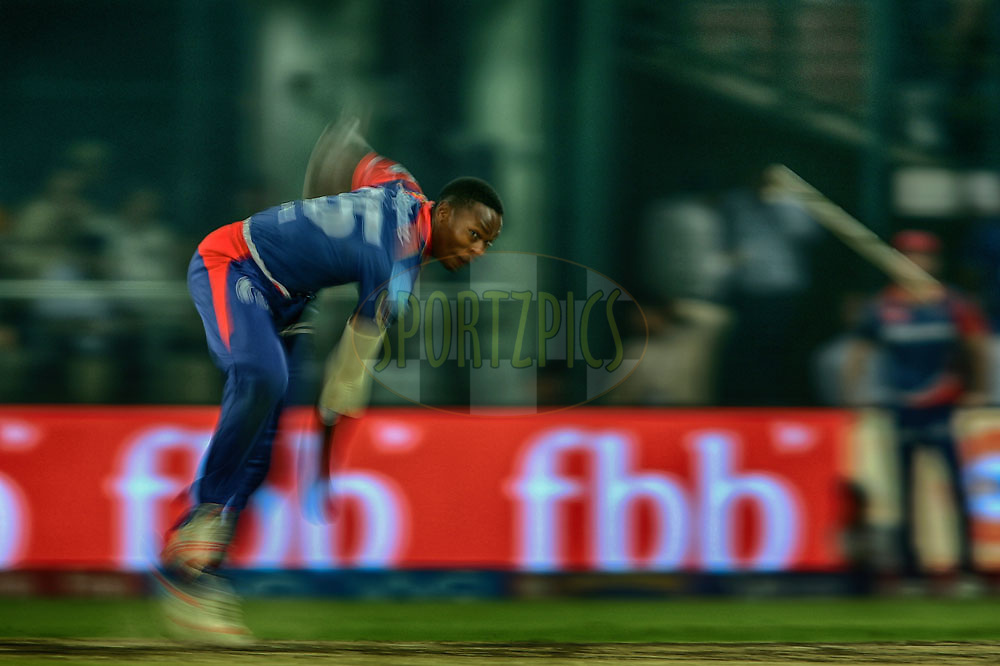 Kagiso Rabada of the Delhi Daredevils sends down a delivery during match 42 of the Vivo 2017 Indian Premier League between the Delhi Daredevils and the Gujarat Lions held at the Feroz Shah Kotla Stadium in Delhi, India on the 4th May 2017<br /> <br /> Photo by Shaun Roy - Sportzpics - IPL