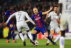 Andres Iniesta of Barcelona takes on Ngolo Kante of Chelsea - Mandatory by-line: Matt McNulty/JMP - 14/03/2018 - FOOTBALL - Camp Nou - Barcelona, Catalonia - Barcelona v Chelsea - UEFA Champions League - Round of 16 Second Leg