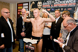 Slovenian Boxer Dejan Zavec alias Jan Zaveck alias Mr. Simpatikus, his challenge Rafal Jackiewicz at official weighing 1 Day before IBF World Champion title fight, on September 3, 2010, in Hotel Lev, Ljubljana, Slovenia. (Photo by Matic Klansek Velej / Sportida)