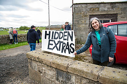 Pictured: Anne Morton from Penicuik joined the protesters<br /> <br /> The Scottish Green Party's Andy Wightman, MSP, joined local election candidate Ian Baxter at the proposed site of a new film studio in Edinburgh ahead of the local council elections.<br /> Ger Harley | EEm 17 April 2017