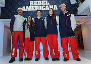 U.S. Freeskiing hopefuls John Teller, Maddie Bowman, Aaron Blunck, Devin Logan and Tom Wallisch, left to right, unveil the official 2014 U.S. Freeskiing Competition Uniforms, Monday, Oct. 28, 2013, in New York, which will be worn by the United States freeskiing athletes when the sport makes its historic debut in Sochi.  (Photo by Diane Bondareff/Invision for The North Face)