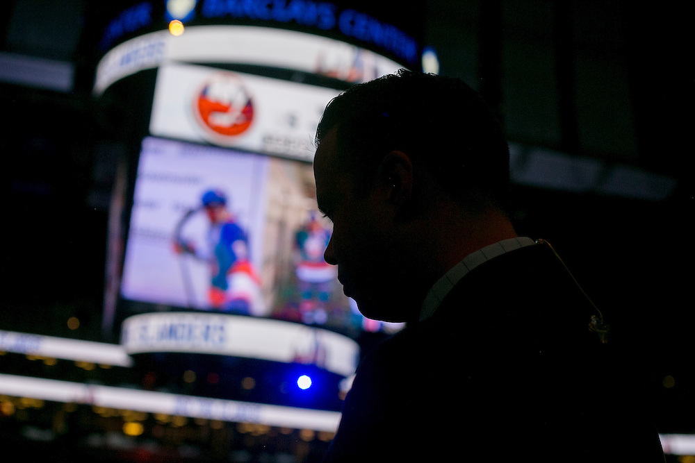 NEW YORK, NY - OCTOBER 18, 2016:  Brendan Burke, the new Islanders play-by-play announcer, prepares to cover a game between the New York Islanders and the San Jose Sharks at the Barclays Center in Brooklyn, New York. CREDIT: Sam Hodgson for The New York Times.